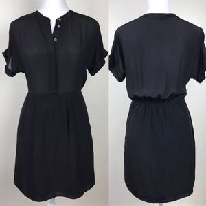 Madewell black dress waist defined XS short sleeve